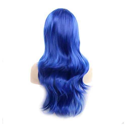- Womens Long Curly Wig, Halloween Cosplay Party Wavy Wig Heat Resistant Synthetic Full Hair Wig (Royal Blue)