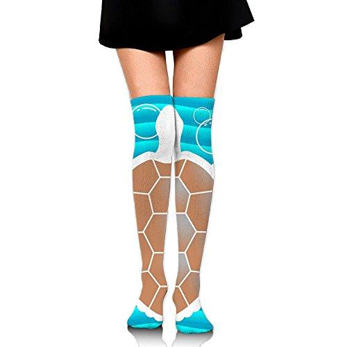 Z-YY Women's Over Knee High Stockings 60 CM Single Sea Turtle Long Tube Socks