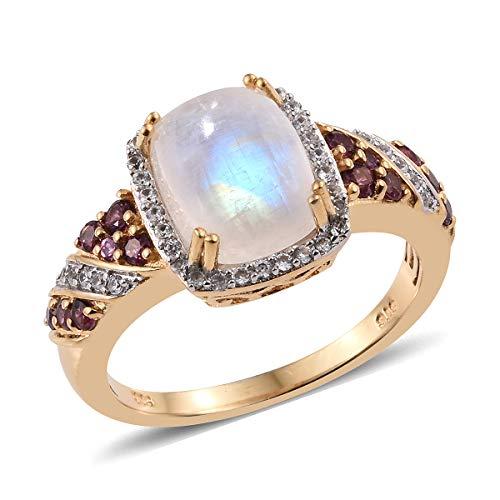 - Halo Ring 925 Sterling Silver Vermeil Yellow Gold Rainbow Moonstone Rhodolite Garnet Jewelry for Women Size 10