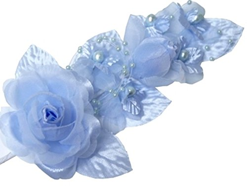 """3 Light Blue Silk Flowers Pearl & Organza Corsages 5""""x 2.5"""" with a Straight Pin"""
