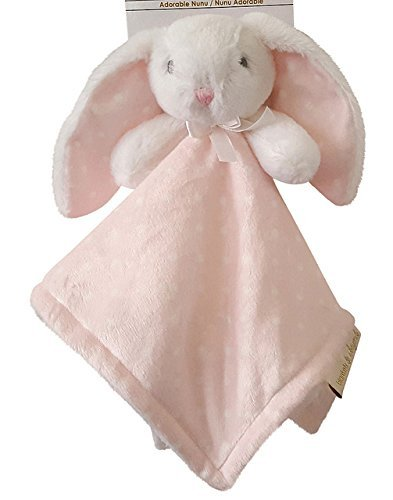 Blankets & Beyond Pink & White Polka Dot Bunny Security Blanket
