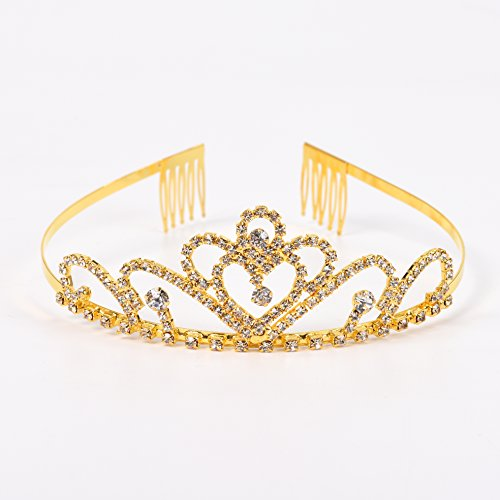 Gold Costume princess crown With Comb Pin For Girls & Women Crystal Bridal wedding (Golden Girl Costumes)