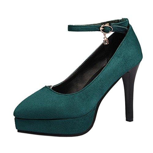 Coolcept Mujer Plataforma Tacon Alto Bombas Zapatos Dark Green