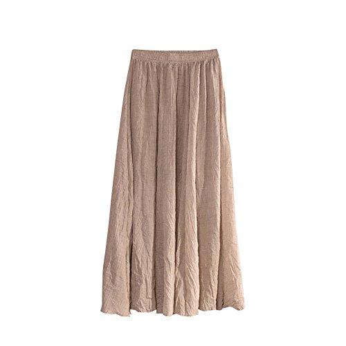 Danse Plisse Femme MISSMAO Jupe Casual lastique Longue Voyager Beige Quotidien Confortable Jupe pour Porter xvXXq6w4F