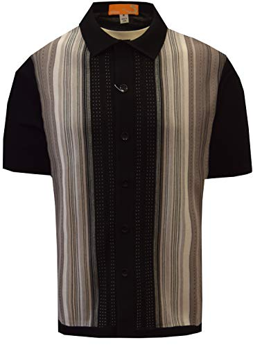 Edition S Men's Short Sleeve Knit Shirt- California Rockabilly Style: Multi Stripes (XL, -
