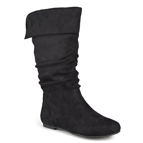 Black Faux Suede Slouch Boot - Journee Collection Womens Regular Size and Wide-Calf Slouch Mid-Calf Microsuede Boots Black, 9.5 Wide Calf US