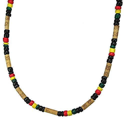 Rasta Beaded Necklace-Handmade Rasta Necklace-Rasta Jewelry-Reggae Necklace-Jamaican Necklace (Bamboo Wood)