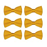 Boys Bow Tie Wholesale 6 Pack Children Pre-Tied Formal Tuxedo Bowties Kids Solid Ties (Gold)