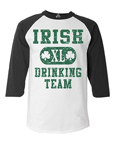 Shop4Ever Irish Drinking Team Baseball Shirt St. Patrick's Day Raglan ShirtX-Large White/Black 11375