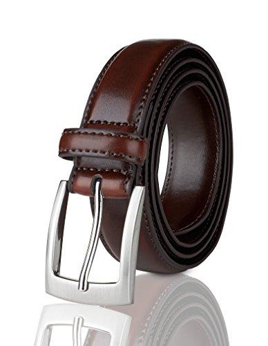 Belts for Men Mens Belt Buckle Genuine Leather Stitched Uniform Dress Belt - Wine - Size 32 (Waist 30)