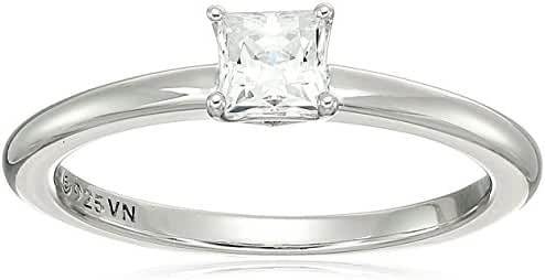 Platinum Plated Sterling Silver Swarovski Zirconia Princess Cut Solitaire Ring