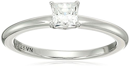 Platinum-plated Sterling Silver Princess-Cut Solitaire Ring made with Swarovski Zirconia (1/2 cttw), Size 7