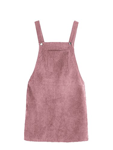 (Romwe Women's Straps A-line Corduroy Pinafore Bib Pocket Overall Dress Pink M)