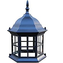 Lawn lighthouse top assembly. Black replacement top or upgrade for lawn lighthouses. Six sided metal top with glass windows.