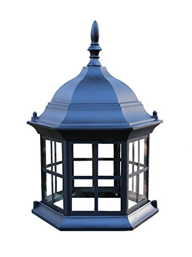 Glass Top Assembly (Lighthouse top assembly, replacement/upgrade for lawn lighthouses. Six sided metal top with glass windows.)