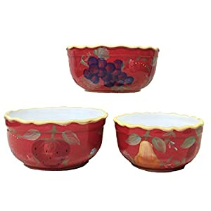 "Red Orchard Ceramic 3-Piece Bowl Set, 8-3/8""W, 82769 by ACK"
