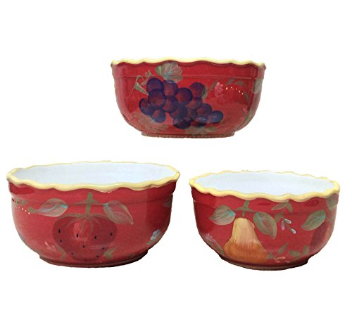 Red Orchard Ceramic 3-Piece Bowl Set, 8-3/8