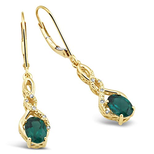 (Lab Created Emerald Earings in 10k Yellow Gold with Diamond Accent)