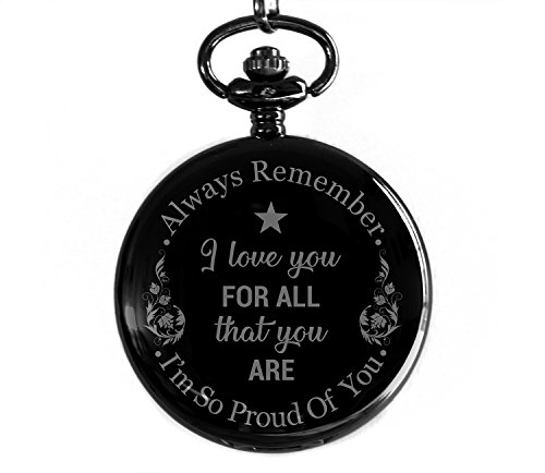Cronos - I Love You For All That You Are - Laser Engraved Metallic Pocket Watch - Gift for Son, Father, Husband, Boyfriend, Bestfriend and Men of All Ages by Cronos