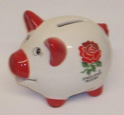 England Rugby Union Official Ceramic Piggy Bank Money Box