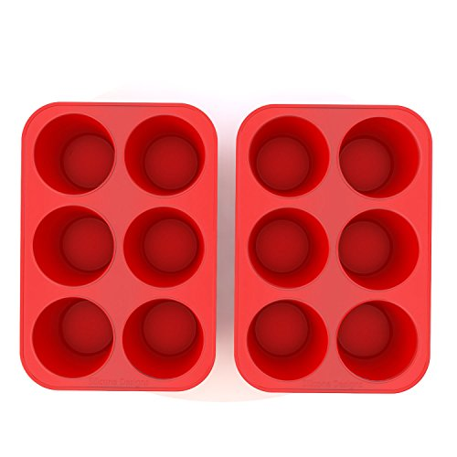 Silicone Texas Muffin Pans and Cupcake Maker, 6 Cup Large, Set of 2, Commercial Use, Plus Muffins Recipe Ebook by Silicone Designs (Image #8)