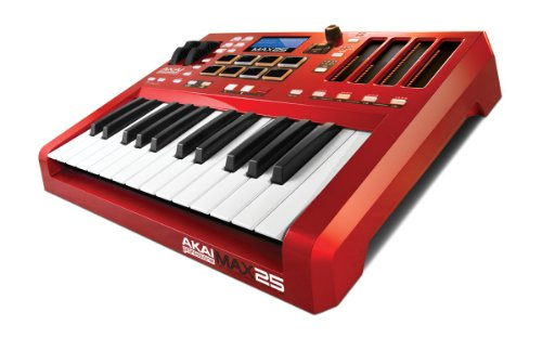 Akai Professional MAX25 | 25-Key USB MIDI Keyboard & Drum Pad Controller with CV/Gate Outputs (8 Pads / 4 LED Touch Faders) by Akai Professional
