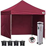 Eurmax 10x10 Pop Up Canopy Outdoor Canopy Instant Canopies with 4 Zipper Sidewalls and Roller Bag,Bouns 4 Weight Bags (Burgundy)