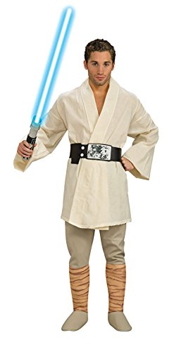 Adult Deluxe Wars Star Costumes Luke Skywalker (UHC Men's Star Wars Deluxe Luke Skywalker Jedi Knight Tunic Costume, Standard (up to)