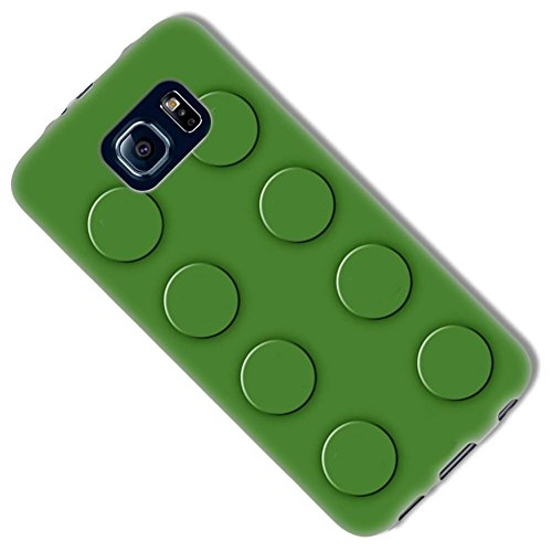 Natural Forest Green {Eight Stud Creative Brick} Soft and Smooth Silicone Cute 3D Fitted Bumper Back Cover Gel Case for Samsung Galaxy (Gothic Disney Characters)