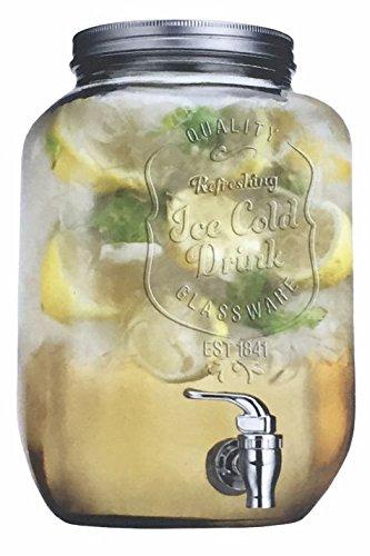 Grifo dispensador de bebidas con tapa (de cristal), color plateado, 4 L