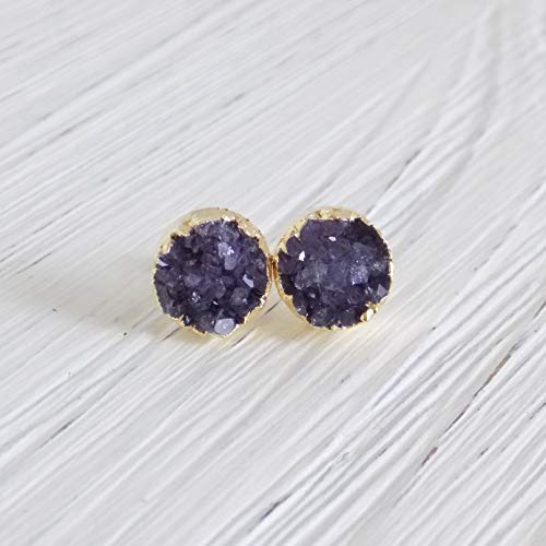 Amethyst Studs Purple Druzy Stud Earrings Amethyst Druzy Earrings ()