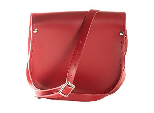 Karminrot Echtledersattel UmhŠngetasche Handtasche mit Schnallenverschluss und verstellbaren Riemen
