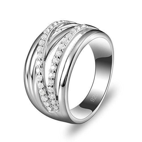 925 Sterling Aitou redondo de plata Zirconia cúbico anillos de boda para las mujeres de los