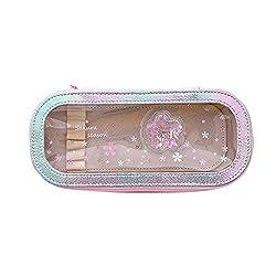 Fan-Ling Cute Cherry Blossom PVC Pencil Case Large Capacity Storage Pencil Case,Desktop Stationery Storage Pencil case,Unisex Men Women Zipper Pencil Case,21x10x4cm (D)