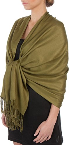 Sakkas Large Soft Silky Pashmina Shawl Wrap Scarf Stole in Solid Colors - Olive Green