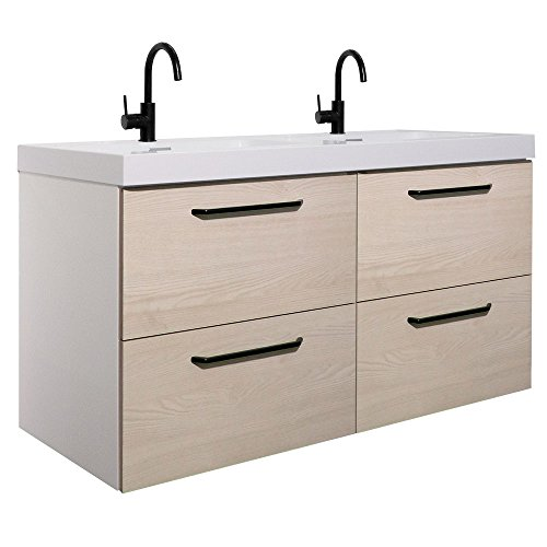 Randalco 48'' Maine Modern Bathroom Double Vanity Cabinet Set | 48 x 24 x 18 Inch Vanity Cabinet + Ceramic Top + Mirror | American White Wood Looking Finish … by Randalco