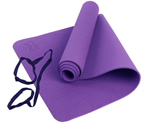 Premium Thick Hot Yoga Mat Meditation Mint Mind Fitness Workout Purple Mat, Antimicrobial Environmentally Friendly Exercise Mattress, Extra Long, Non-Slip, Pilates & Gym Accessory With Carrying Strap