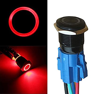 ESUPPORT 22mm 12V 5A Car Red LED Light Angel Eye Metal Push Button Switch ON OFF Socket Plug Latching Black Shell: Automotive
