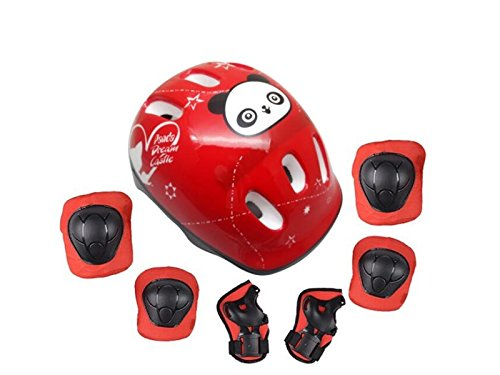 Wetietir Skating 7 Pcs/Set Kid's Protective Gear Set Helmet Elbow Knee Handguard Roller Skating Skateboard BMX Scooter Cycling (Red S) Protection by Wetietir