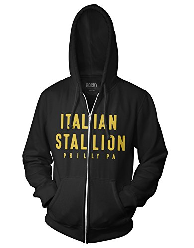 (Ripple Junction Rocky II Italian Stallion Adult Zip Hoodie 3XL Black)
