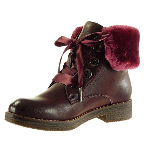 Angkorly - damen Schuhe Stiefeletten - Combat Boots - Biker - Classic - Pelz - Schnürsenkel aus Satin - Fertig Steppnähte Blockabsatz high heel 3.5 CM Burgunderrot