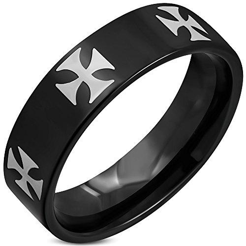 Zense-Bague-noire-acier-pour-homme-et-croix-patte-ZR0118