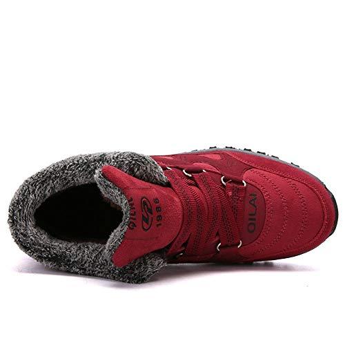 Idéales Promenades Femme Tige Adhérence Les Haute Trekking Imperméable Osyard Rouge Chaussures Randonnée Le 5Ppxqaf0w