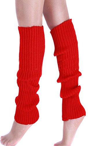 Eforstore Pure Effen Fluorescentie Kleur Winter Been Voet Warmer Kniehoge Knit Breien Boot Sokken Sok Legging Voor Vrouwen En Meisjes Rood