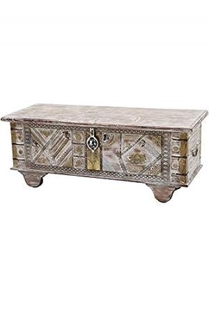 Orientalische Truhe Kiste aus Holz barthel 116cm groß | Vintage Sitzbank  mit Aufbewahrung für den Flur | Aufbewahrungsbox mit Deckel im Bad | ...