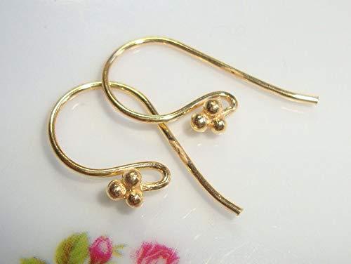 (2 pcs, 21x10, 20 Gauge Wire, Artisans Gold Vermeil4 Ball French Hook Ear Wire, Earrings - EW-0002 )