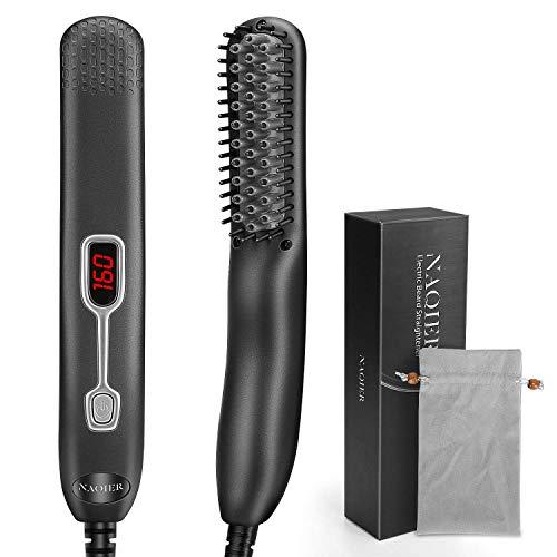 Beard Straightener Comb for Men - NAQIER Portable Electric Beard Straightener Heated Brush and Hair Straightener,