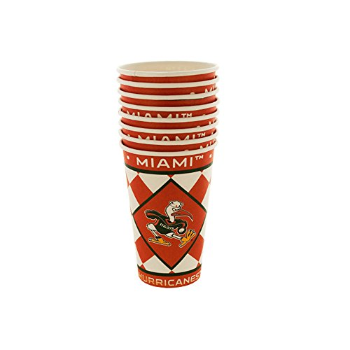 JT Party Supplies Miami Hurricanes Paper Cups Set - 24 Pack
