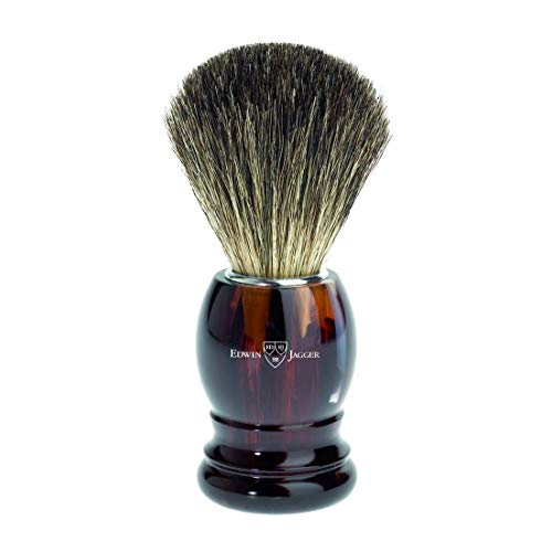 Edwin Jagger Pure Badger Shaving Brush, Imitation Tortoise Shell
