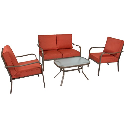 Best Choice Products 4-Piece Cushioned Patio Furniture Conversation Set w Loveseat, 2 Chairs, Coffee Table – Red